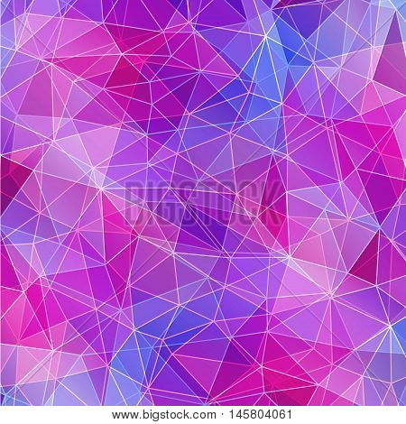 Colorful diamond texture close-up. Geometric polygonal pattern. Vector illustration. Abstract purple blue and pink background.