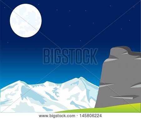The Wild night landscape of the mountains and moon.Vector illustration