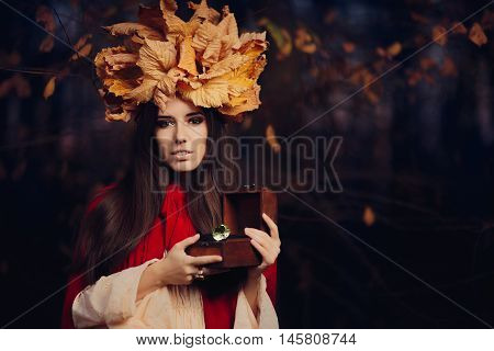 Autumn Woman Holding Treasure Box with Big Diamond