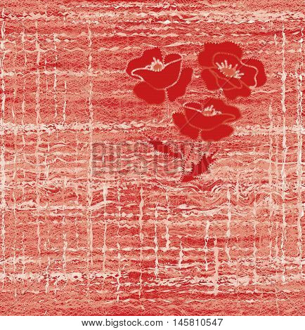 Seamless weave pattern with embroidery of red poppy on grunge striped interlace background