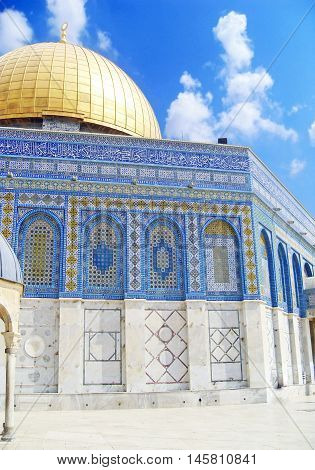 The Dome of the Rock Jerusalem Israel located on the Temple Mount.