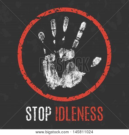 Conceptual vector illustration. Negative human states and emotions. Stop idleness sign.