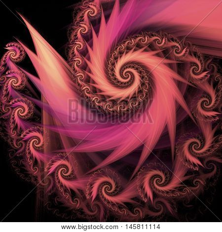Abstract multicolored spiral on black background. Computer-generated fractal in beige rose and violet colors.