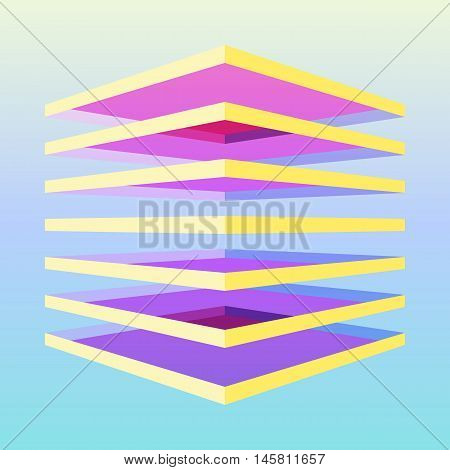 Colorful 3d cube made by transparent overlapped layers. Geometric vector illustration. Element of design.