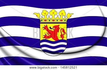 Flag of Zeeland Netherlands. 3D Illustration. Close Up.