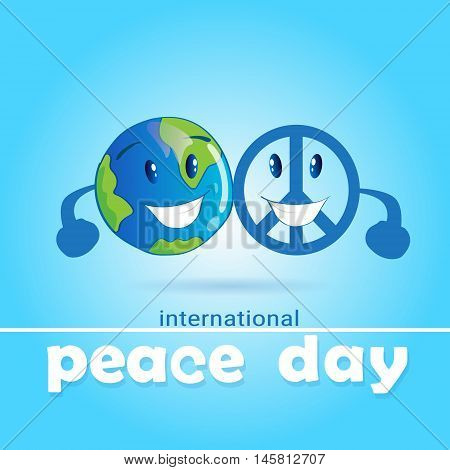 World Peace Day Hippie Sign With Earth International Holiday Poster Flat Vector Illustration