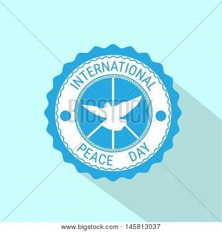 World Peace Day Icon White Dove Bird Symbol Flat Vector Illustration