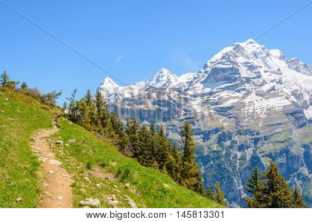 Beautiful landscape of valley in Alpine mountains, small trail, hike root, majestic picturesque view in sunny day