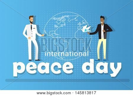 Two Diverse Man Globe Background International Peace Holiday Poster Flat Vector Illustration