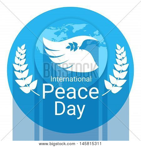 World Peace Day Poster White Dove Bird Wing Flat Vector Illustration
