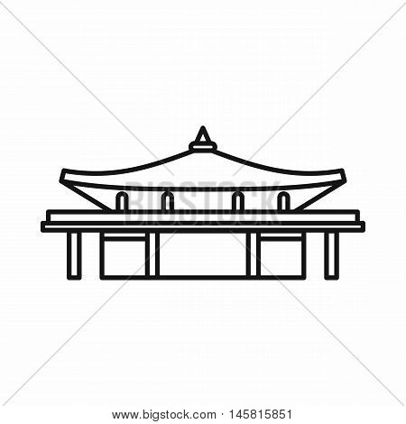 Asian pagoda icon in outline style isolated on white background vector illustration