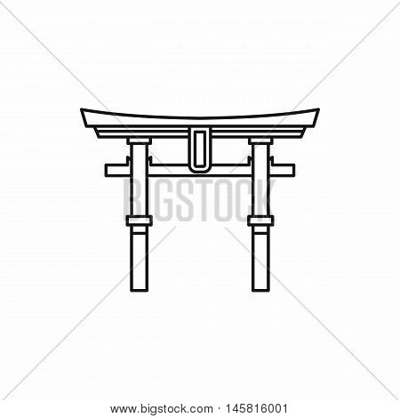 Japan gate Torii icon in outline style isolated on white background vector illustration