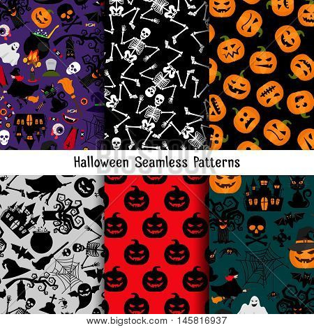 Different halloween vector pattern set. Endless texture for web page or wrapping with pumpkin and skeleton, witch and tree ogre