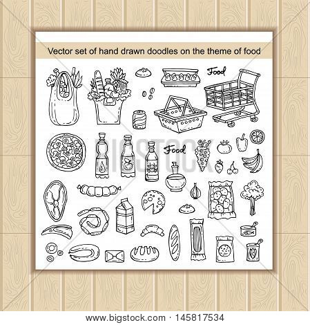 Vector set with hand drawn isolated doodles on the theme of food - dairy products beverages vegetables fruits meat products sausages bread pizza. Sketches for use in design