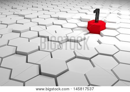 Number one on a different red high hexagons,Abstract winner concept,leader concept,3d rendering background,copy space for add your text
