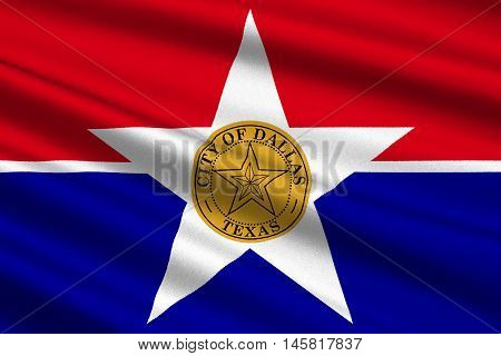 Flag of Dallas is a major city in the state of Texas United States. 3D illustration