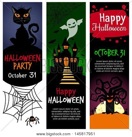 Halloween vertical banners. Vector halloween party invitation banner set with blood text, spook, cat and bat