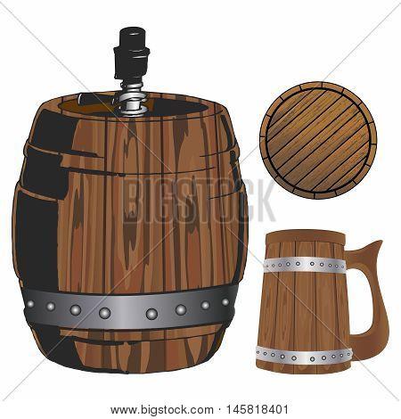 Vector Traditional Brewery Wooden Equipments, Tavern, Night pub Decor Collection, Barrel, Keg, Mug