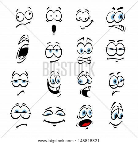 Cartoon eyes with face expressions and emotions. Cute smiles icons for emoticons. Vector emoji elements smiling, happy, sad, angry, mad, stupid, shocked, comic, upset, silly scared sneaky surprised