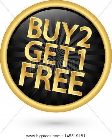 Buy 2 Get 1 Free Golden Label, Vector Illustration