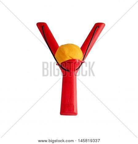 Plastic children's slingshot isolated on white background color red