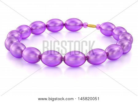 Purple glass beads with a clasp. 3D rendering.