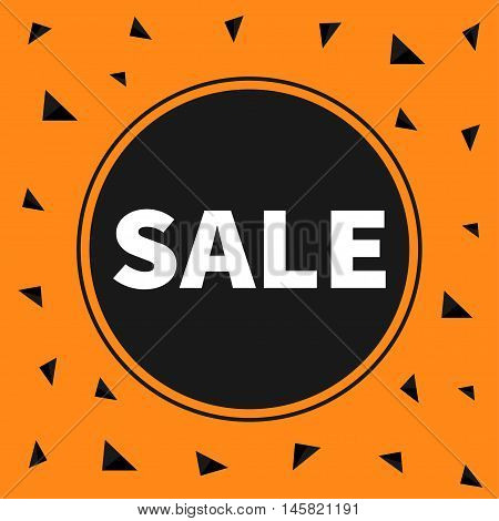 Sale black tag circle round banner advertising poster. Autumn fall halloween season offer. Flat design. Orange background with triangles. Vector illustration