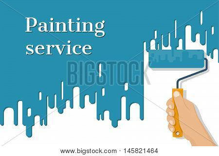Man holding in hand roller isolated on background painted red wall. Painting service. Artist paints. Flat style design vector illustration. Renovation concept.