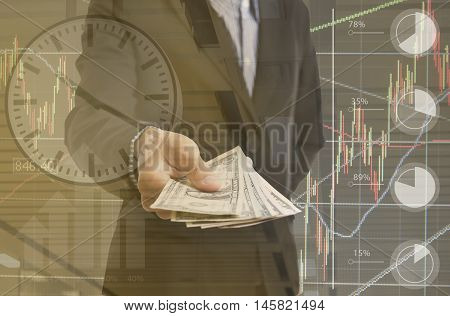 Bank employees hand holding money us dollar (USD) bills finance and banking concept