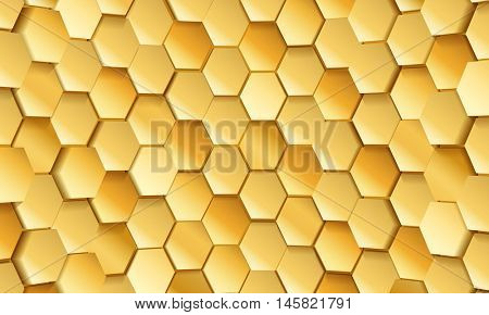 Gold tile of honeycomb shape plates background. Golden glittering pailettes hexagon texture. Semi spherical tiling luxury fashion background. Snake skin scales interior texture.
