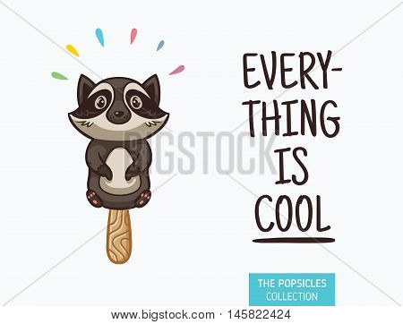 Everything is cool. Raccoon popsicle yummy fresh summer desert in cartoon style.