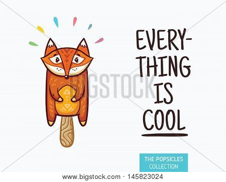 Everything is cool. Fox popsicle yummy fresh summer desert in cartoon style.