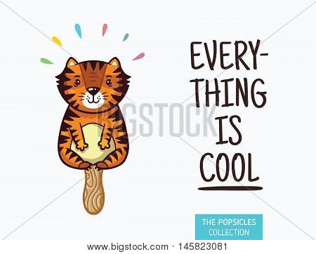 Everything is cool. Tiger popsicle yummy fresh summer desert in cartoon style.