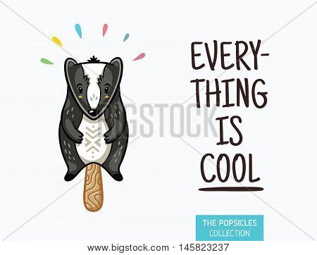 Everything is cool. Badger popsicle yummy fresh summer desert in cartoon style.