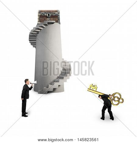 Man Shouting Other Carrying Euro Symbol Key With Treasure Chest