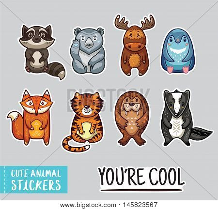 Set of stickers with cute cartoon animals. The raccoon, polar bear, moose, penguin, fox, tiger, walrus and badger. childish set