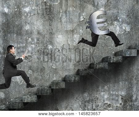 Man Running After Euro Money Symbol