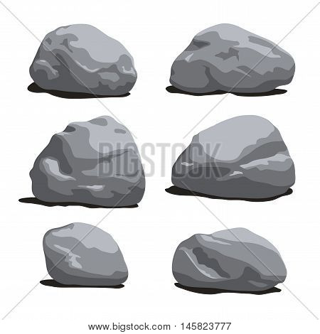 Set Of Rocks And Stones Different Shapes.
