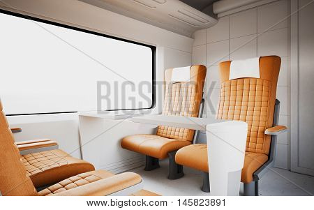 Empty Comfortable Modern Orange Color Leather Armchair Inside Business Class Cabin Fast Speed Train.White Window Generic Design Interior Background.Blank Canvas Travel Message.Mockup.3d rendering