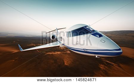 Closeup Photo White Luxury Generic Design Airplane.Private Jet Cruising High Altitude, Flying Over Desert.Empty Blue Sky with Sun Background. Business Travel Concept. Horizontal. 3D rendering
