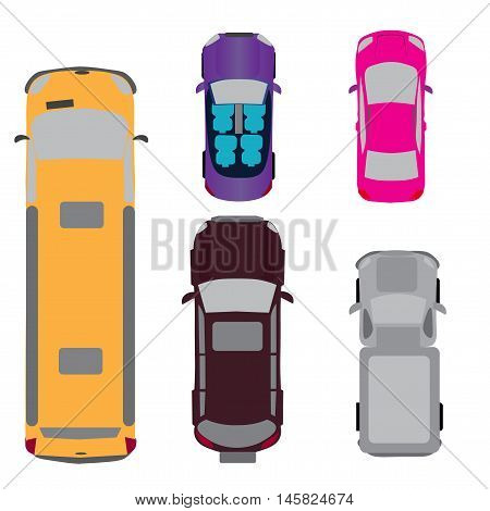 A set of five cars. Coupe, convertible, SUV, passenger van, minivan. View from above Vector illustration