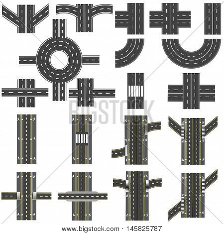 Set of different sections of the road with roundabouts, junctions, bends and various intersections. series depicts the sidewalks, marked bicycle lanes. Top view and perspective. Vector illustration
