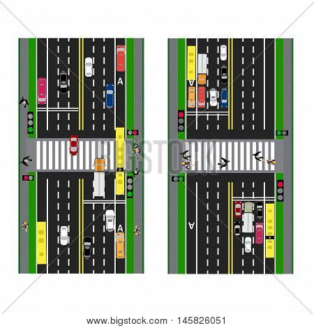 Highway Planning. roads, streets and traffic lights with the transition. Image sidewalks, transition lanes for public transport. View from above. Vector illustration