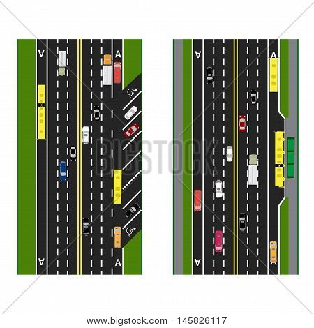 Highway Planning. roads, streets with parking and public transport. Images of various cars, lanes for public transport. View from above. Vector illustration