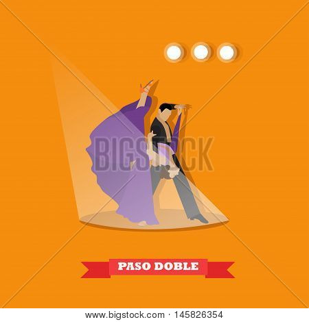 Couple dancing paso doble concept vector poster. People in beautiful dress dance on a stage.