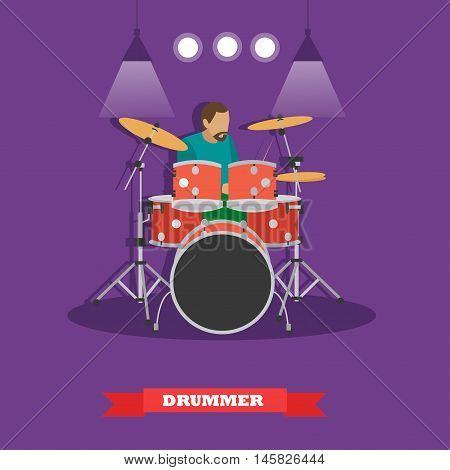 Drummer musician playing drums. Vector illustration in flat style design.