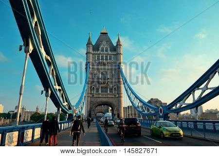LONDON, UK - SEP 27: Tower Bridge and traffic on September 27, 2013 in London, UK. London is the world's most visited city and the capital of UK.