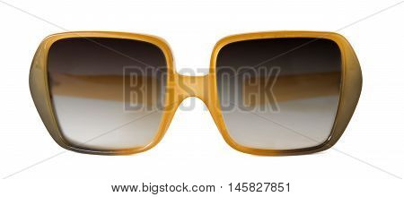 a pair of vintage sunglasses over a white background
