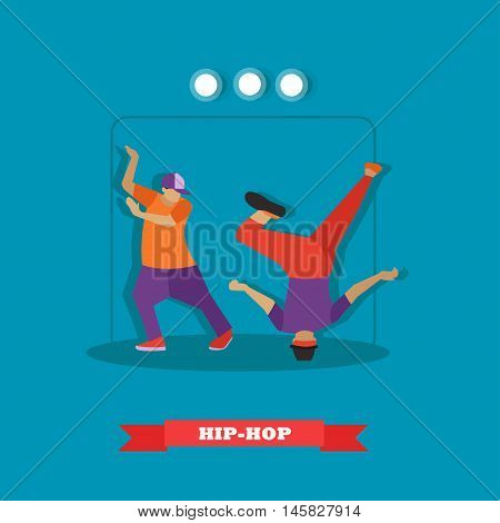 Urban hip hop dancers. Young guys dancing breakdance on a stage vector illustration in flat style design.