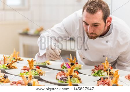 Chef Garnishing His Appetizer Plate